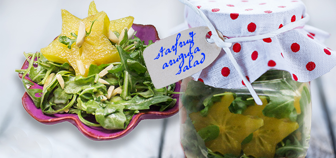 Set ajar – starfruit arugula salad
