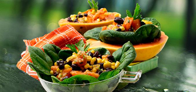 3 way black beans and papaya salad