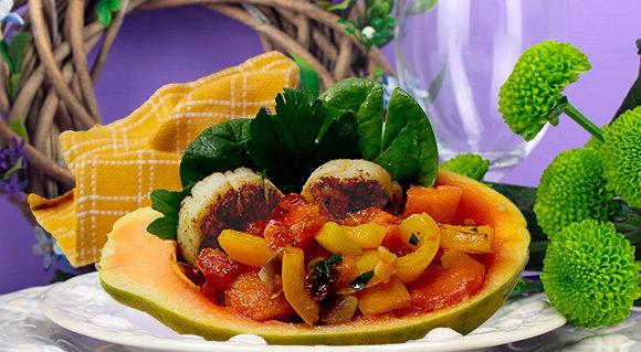 scallops, ginger and solo papaya