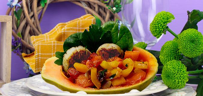 Scallops and papaya sauce