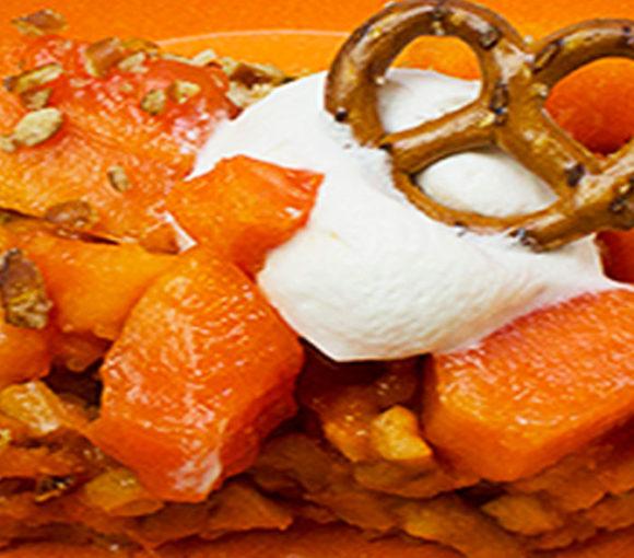 Pretzel, papaya and passionfruit crumble