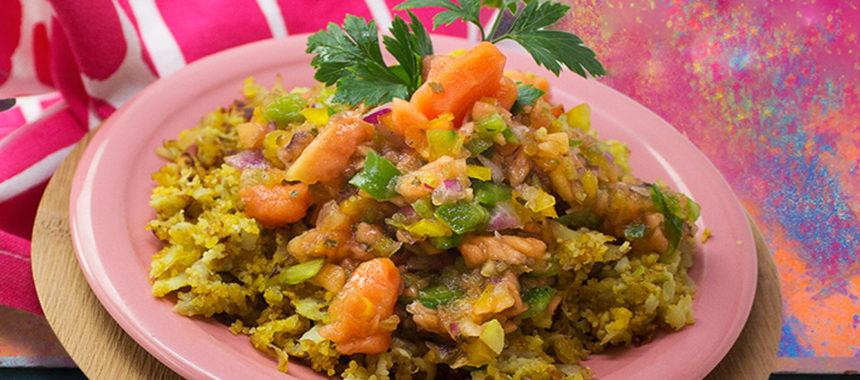 Chayote-potato scramble topped with papaya salsa