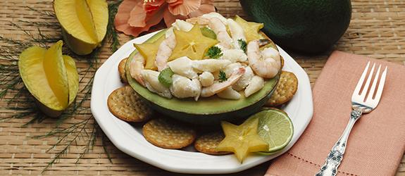 Sea and stars salad in SlimCado boat