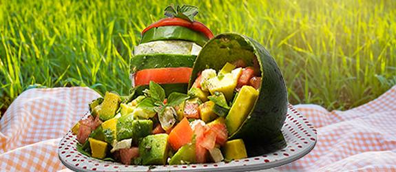 SlimCado Caprese salad