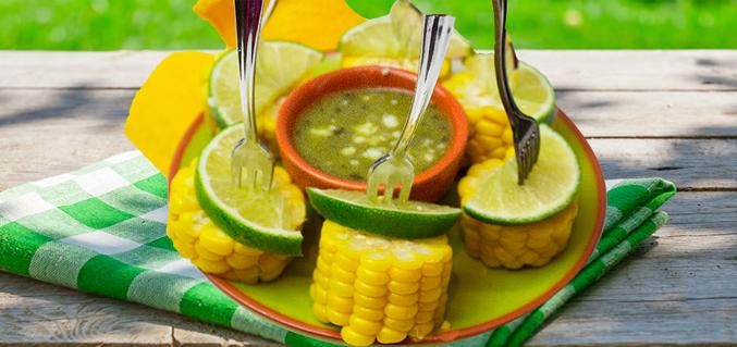 Corn with lime basil pesto