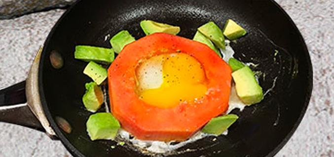 Put a papaya ring round it – egg bake