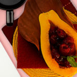 Solo papaya with easy-glaze raspberries