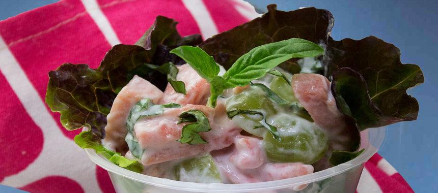 Guava and grape basil salad