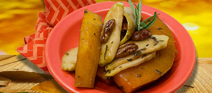 Maple-Roasted Calabaza with Chayote and Pecans