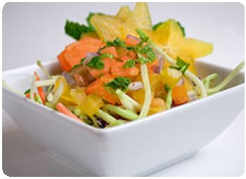 Minty, starry, papaya fruit salad
