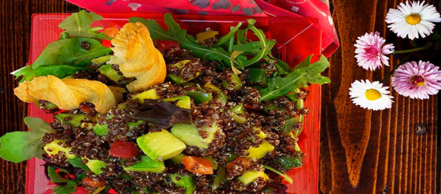SlimCado and olive quinoa salad