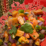 Seafood medley topped with Caribbean papaya salsa
