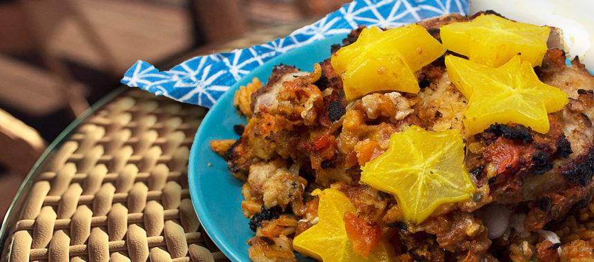 Papaya, pork and rice