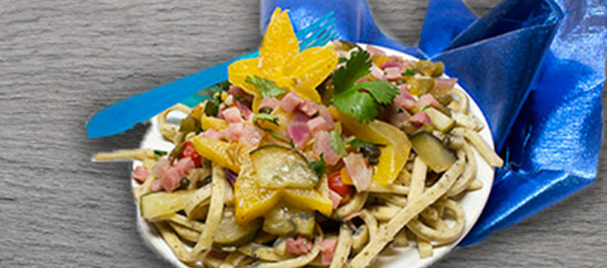 Spicy ham and starfruit pasta topper