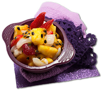 Citrus, passionfruit and lychee fruit salad
